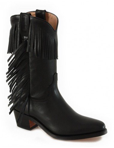 Bottes country cuir noir franges femme