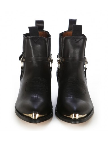 Boots western cuir noir bout ferré - Bottines cowboy artisanales