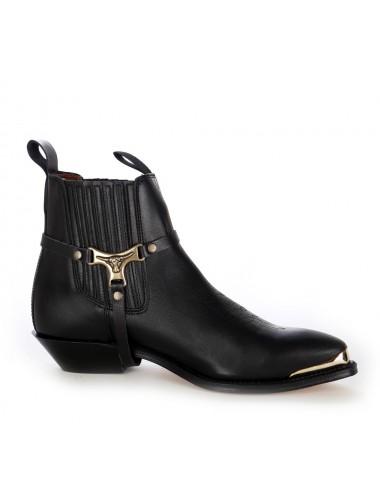 Boots western cuir noir bout ferré
