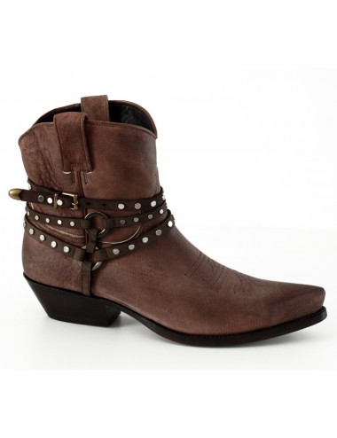 Bottines country cuir vintage - Bottines cowboy artisanales