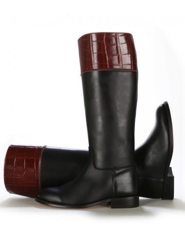 Bottes cavalières - Bottes cavalières cuir et croco bicolores
