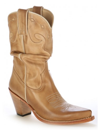 Santiags femme cuir beige - Bottes santiags country artisanales
