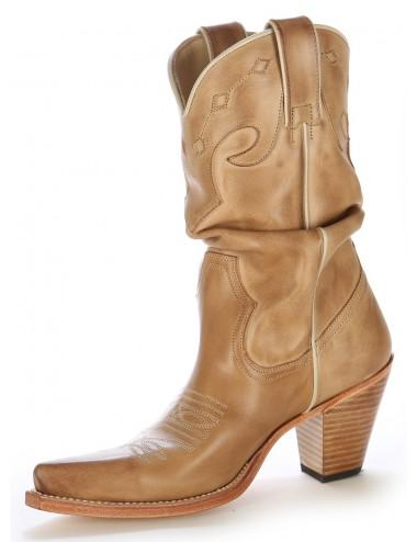 Bottes santiag country - Santiags femme cuir beige