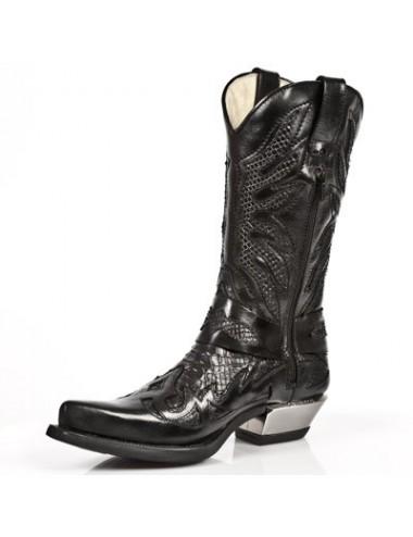 Bottes santiag country - Santiags homme cuir et serpent noir talon acier