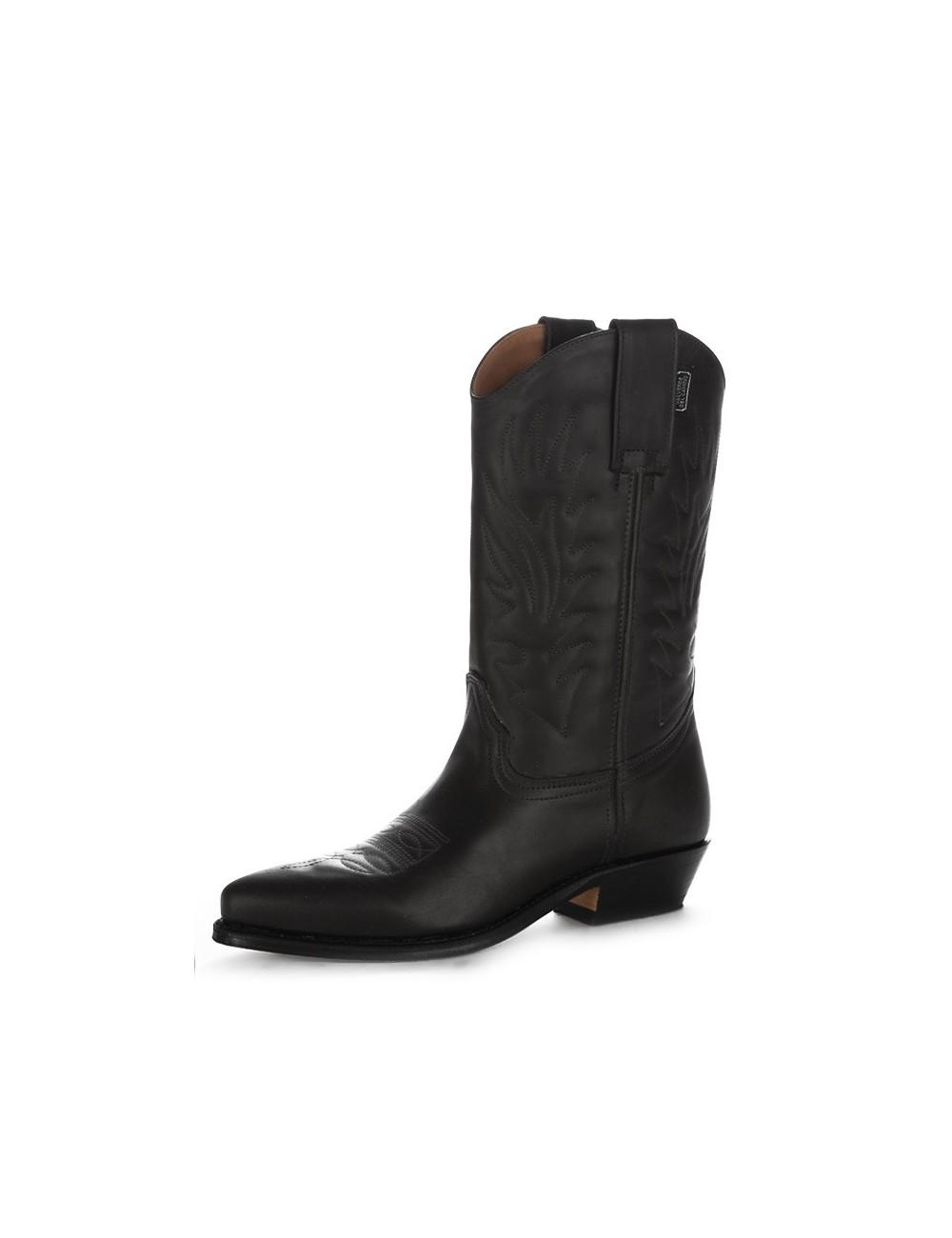 Santiags cuir noir classiques - Bottes santiag et country artisanales