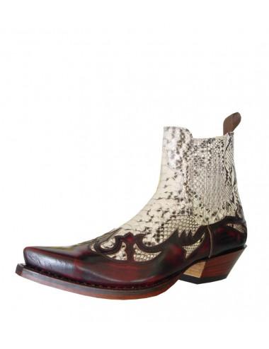 Boots santiags cuir bordeaux et lézard sur mesure - Santiags sur mesure