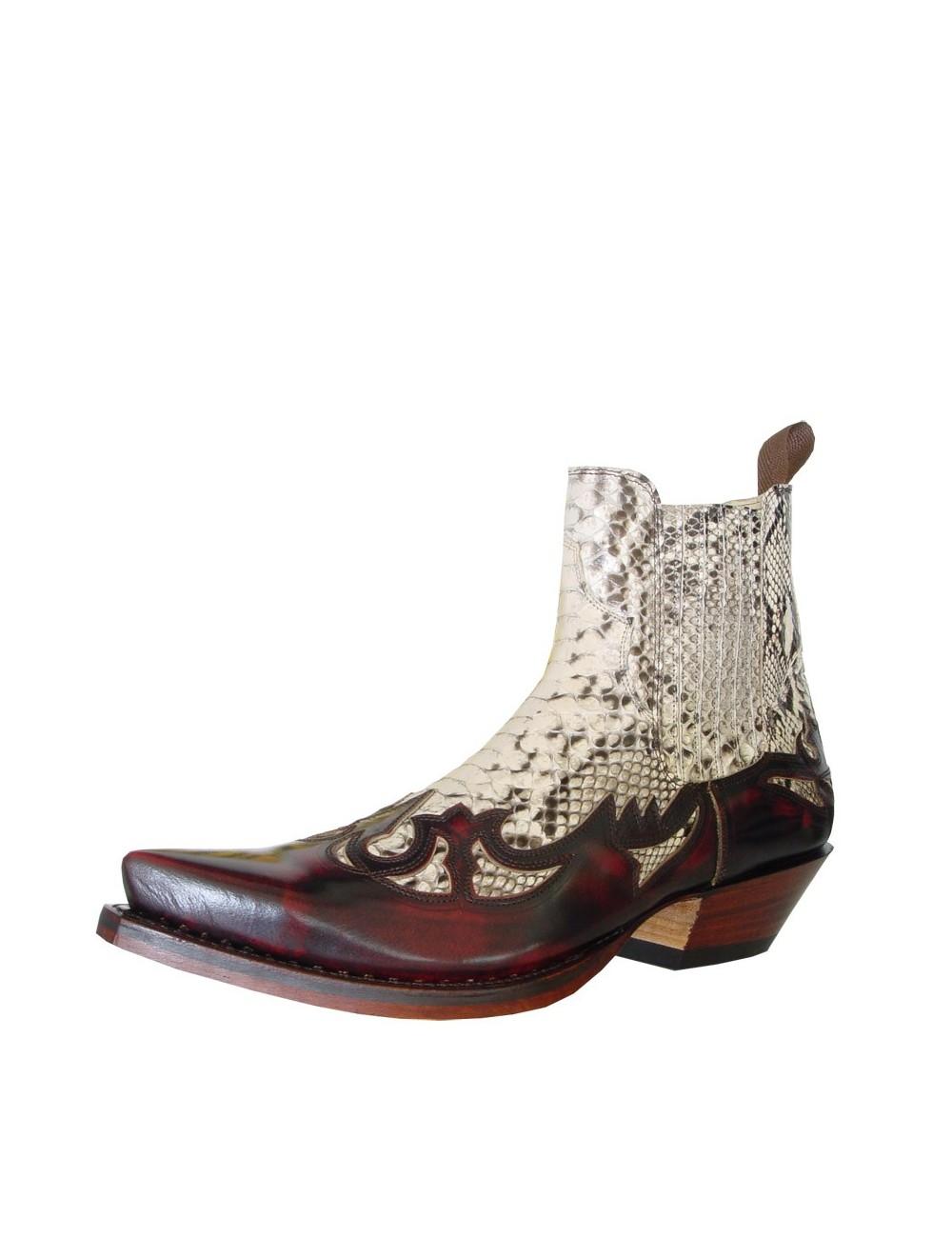 Boots santiags cuir mesure sur et bordeaux lézard Pn0Ok8w