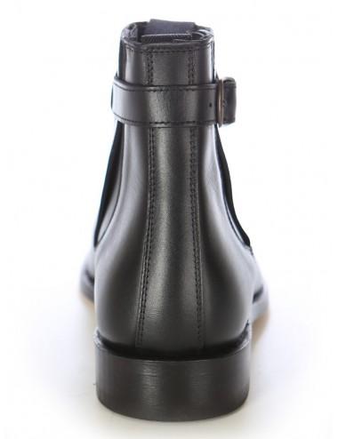 Bottines femme plates en cuir noir - bottines femmes artisanales