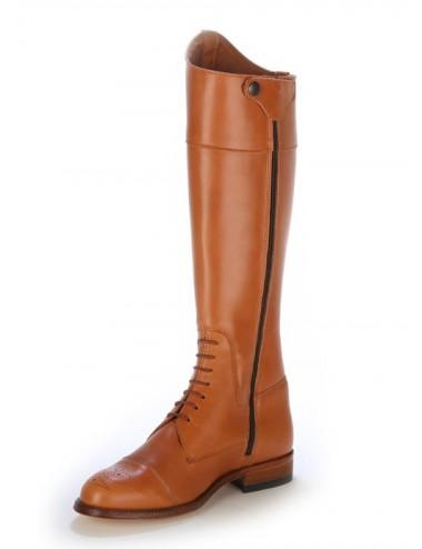Bottes cavalières - Bottes femme cuir camel à lacets