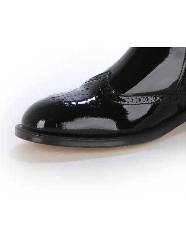Bottes cavalières - Bottes femme en cuir verni noir