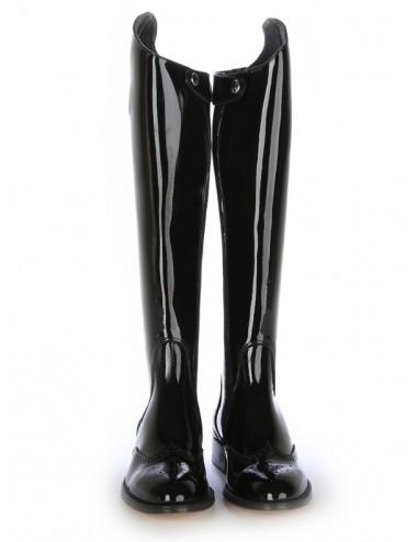 Bottes femme en cuir verni noir - Bottes cavalières artisanales