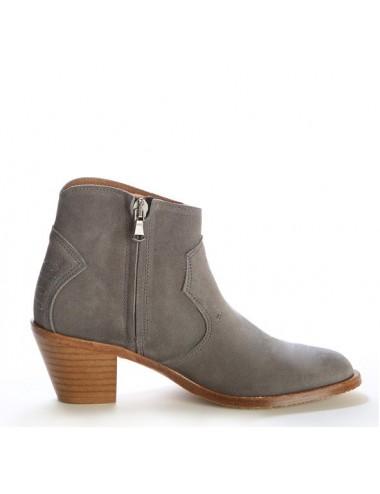 Bottines femme - Bottines femme grises en cuir