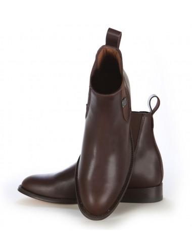 Bottines homme - Bottines femme élastiques en cuir marron