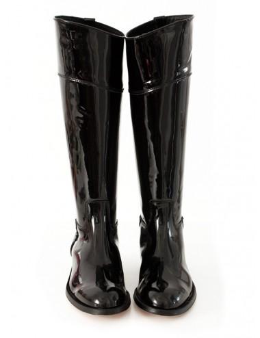 Bottes cavalières sur mesure - Bottes sur mesure vernies noires en cuir