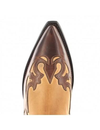 Bottes santiag country - Santiags mexicaines cuir marron et beige