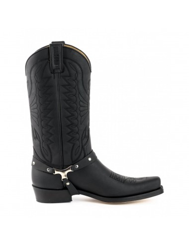 Bottes santiag country - Bottes western cuir noir