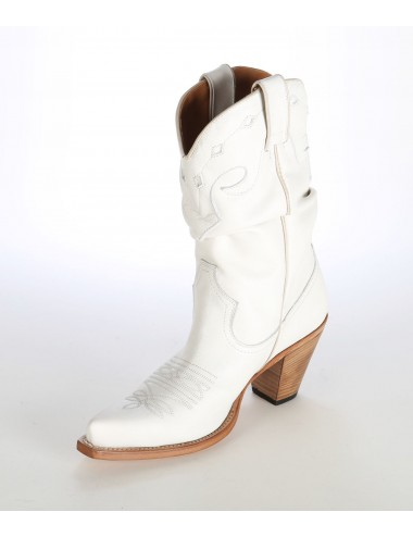Santiags femme blanche - Bottes santiags country artisanales