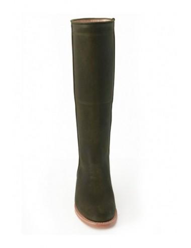 Bottes cavalières cuir vert kaki sur mesure