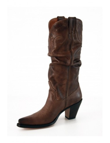 Santiags sur mesure - Bottes santiags cuir marron sur mesure femme