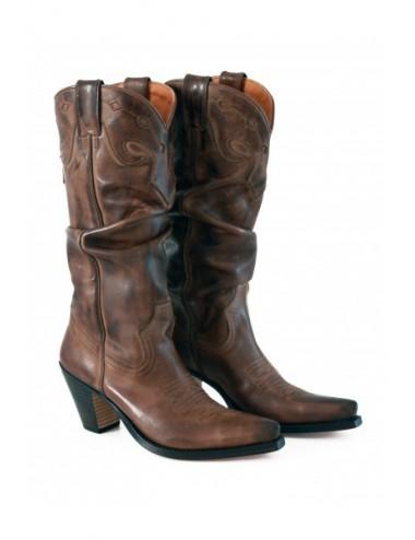 Bottes santiags cuir marron sur mesure femme - Santiags sur mesure