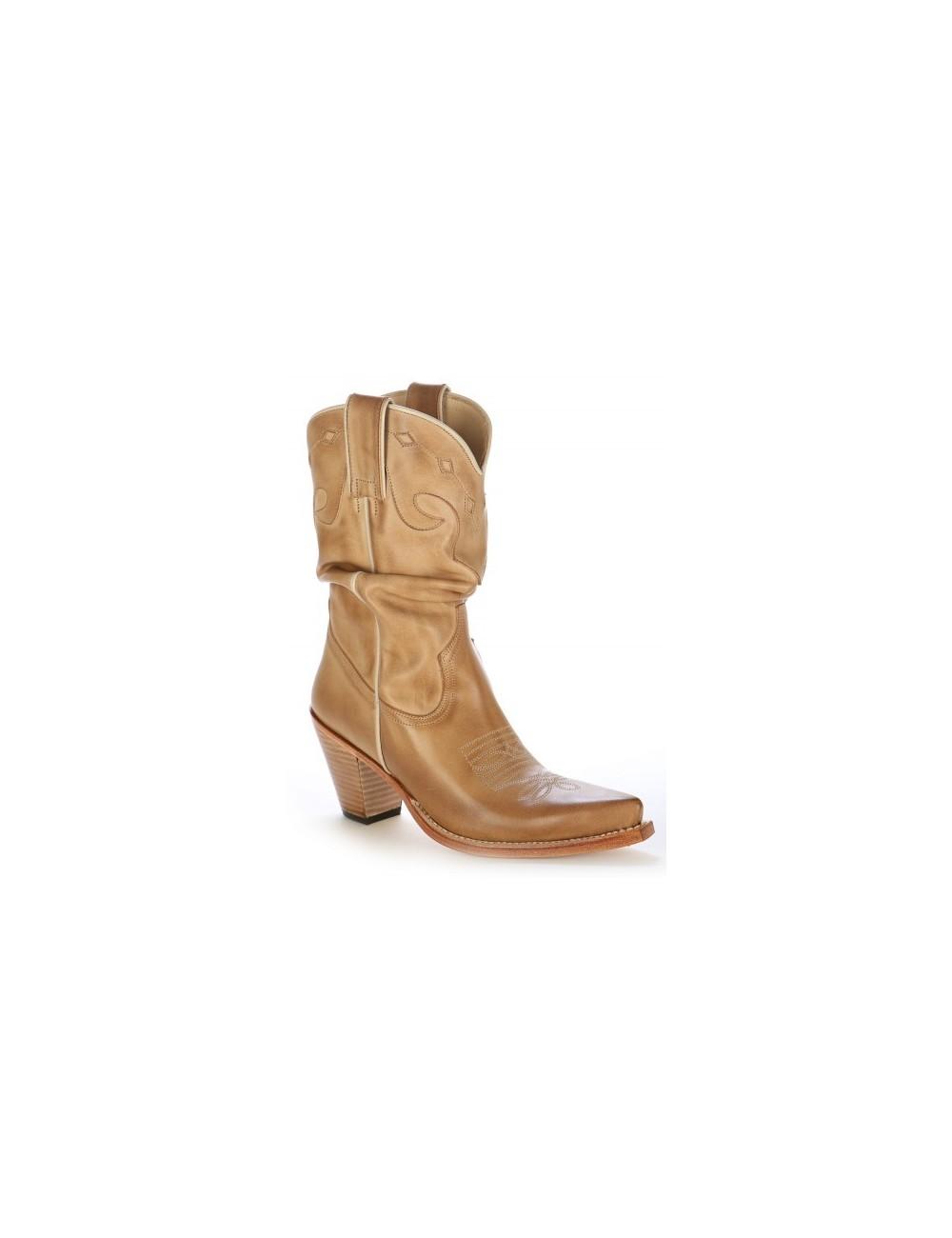 Santiags sur mesure - Santiags femme cuir beige sur mesure