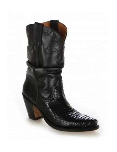 Santiags sur mesure - Santiags femme serpent véritable et cuir noir sur