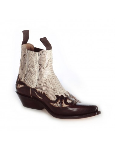 Boots santiags cuir bordeaux et serpent véritable - Bottines cowboy
