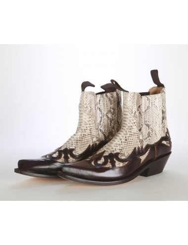 Bottines cowboy - Boots santiags cuir bordeaux et serpent véritable