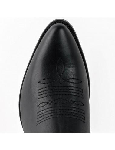 Bottines femme - Santiag femme courte cuir noir