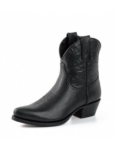 Santiag femme courte cuir noir - bottines femmes artisanales