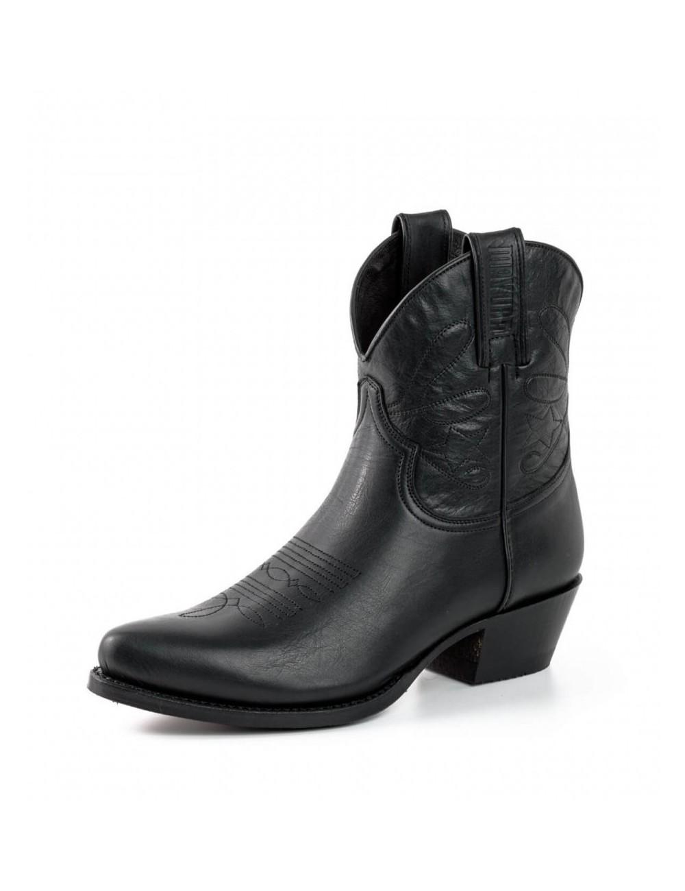 une autre chance profiter de prix pas cher meilleurs prix Santiag femme courte cuir noir