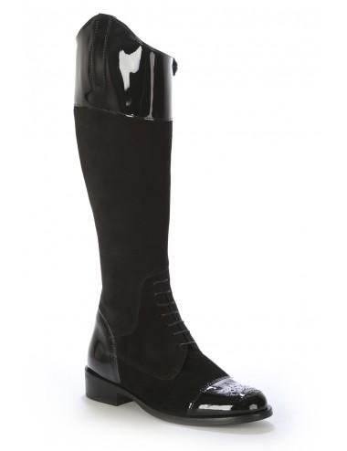Bottes cavalières - Bottes femme daim et verni noir