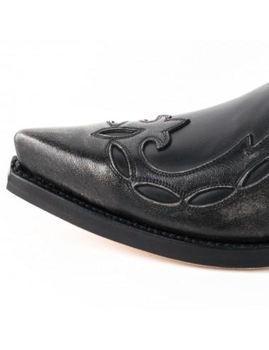 Bottines cowboy - Santiag courte cuir noir et argent