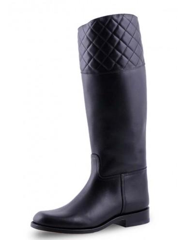 Bottes cavalières sur mesure cuir noir matelassé