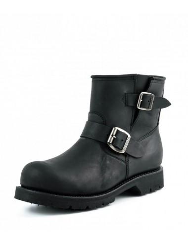 Boots moto cuir noir bout coqué - Boots motards