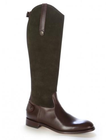 Botte femme cuir bicolore élégante - Bottes cavalières artisanales
