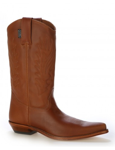 Santiags mexicaines camel en cuir - Bottes santiags country artisanales