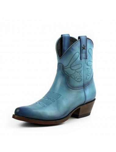 Bottines cowboy - Bottines santiag femme bleu cuir