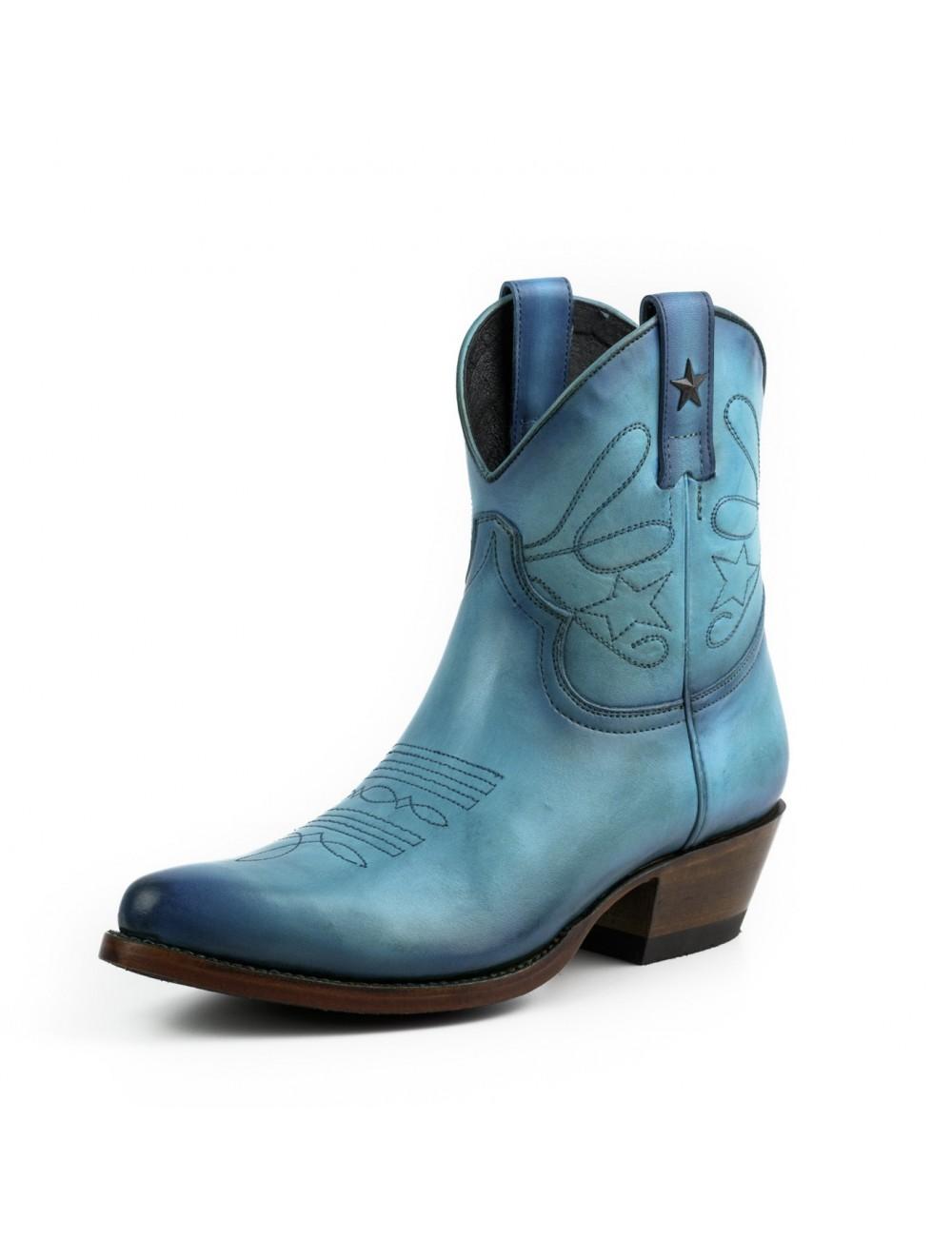 Bottines santiag femme bleu cuir - Bottines cowboy artisanales