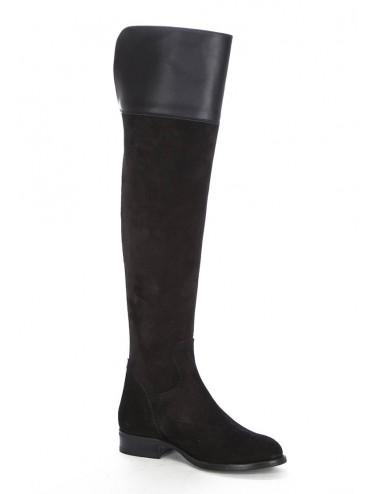 Bottes cavalières - Bottes cuissardes plates en daim noir