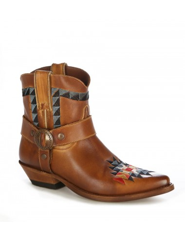 Bottines country cuir camel à brides - Bottines cowboy artisanales