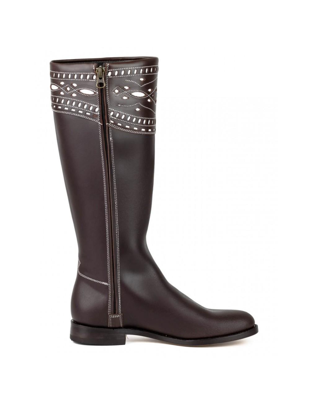 vente chaude en ligne 4c1d1 450e0 Bottes cavalières espagnoles cuir marron femme