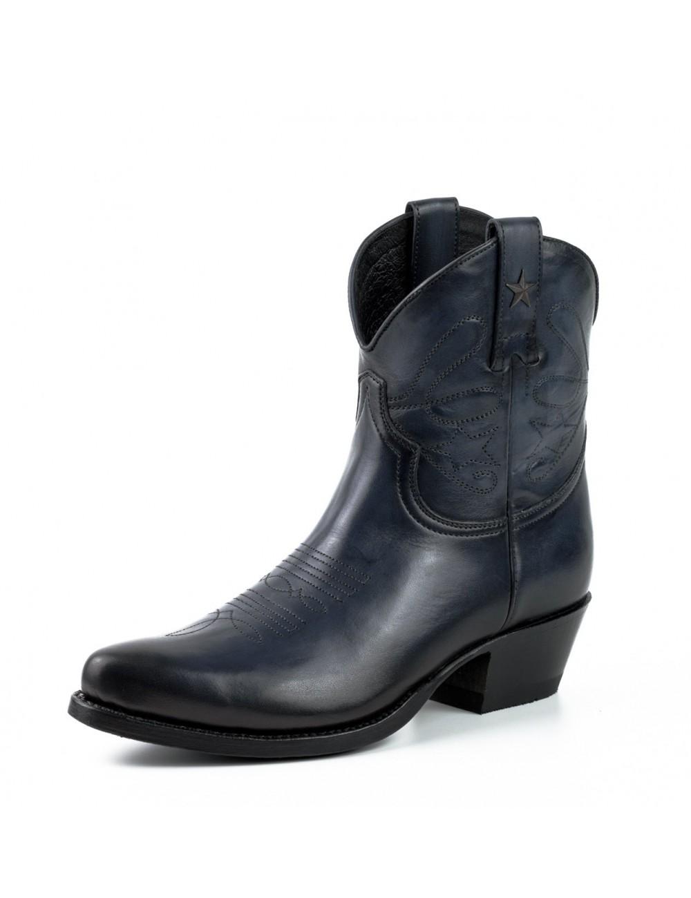 design intemporel 09c95 fd51c Boots cowboy femme bleu marine en cuir
