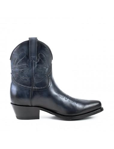 Bottines femme - Boots cowboy femme bleu marine en cuir