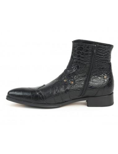 Boots homme cuir croco noir