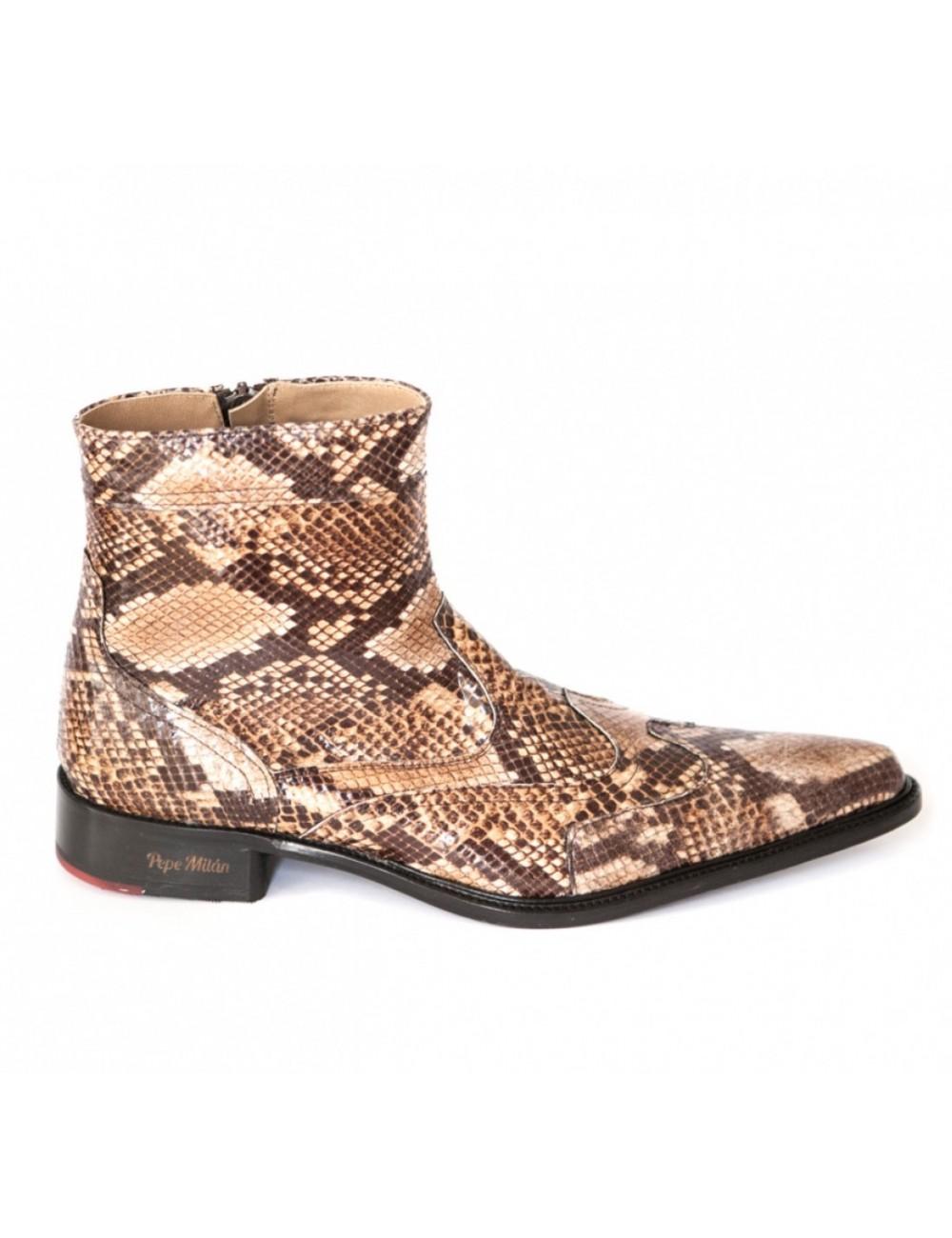 Boots homme cuir serpent camel - Bottines hommes artisanales