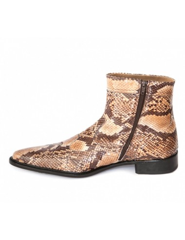 Boots homme cuir serpent camel - Bottines homme artisanales