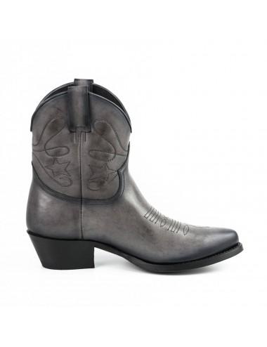 Boots cowboy femme grises en cuir - bottines femmes artisanales
