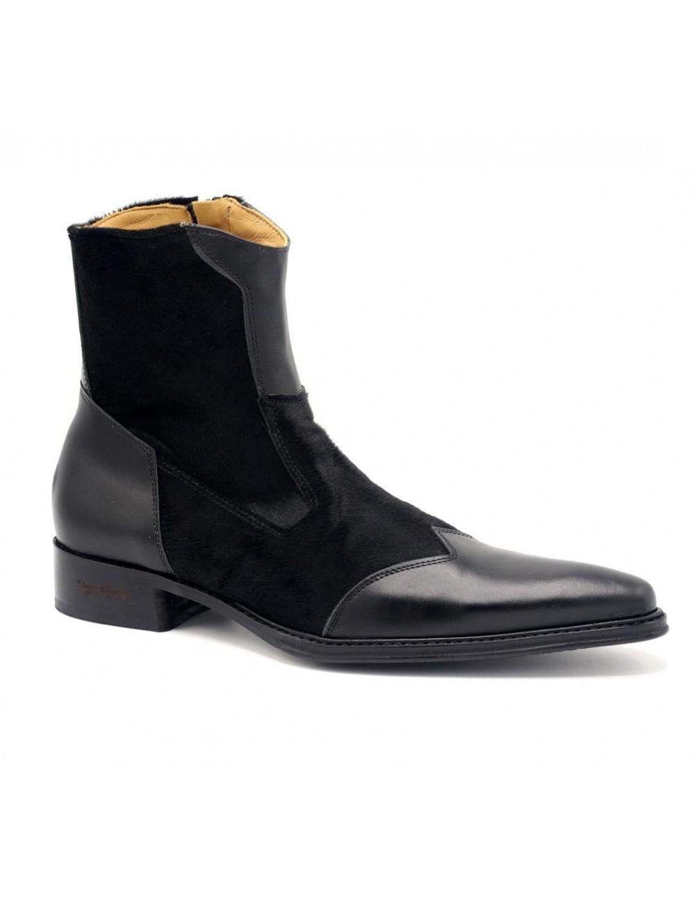 Bottines homme - Boots homme pointues cuir noir tendances