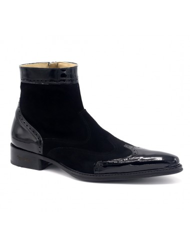 Boots homme cuir verni et daim noir tendances